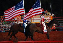 Riders from Hedrick Rodeo Company present our colors with style and class at the 2013 Rhea County Fair.