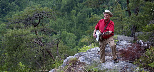 Ed Brown, Coke Ovens Bluegrass Festival organizer and musician, overlooking the Sequatchie Valley.  Photo credit: Tennessee Dept. of Tourist Development