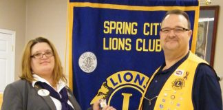 Pictured (L-R): District Governor Lelia Gibson, Spring City Lions Club President Jim Reed. (photo submitted)