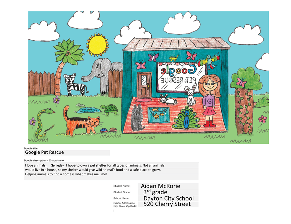 "DCS Student Winner of State ""Doodle 4 Google"""