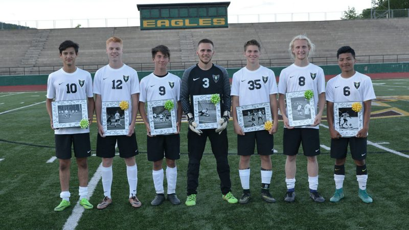 Seven Rhea County Soccer Seniors Stand With Plagues After Red Bank Game On Tuesday May 2nd Left To Right Miguel Castro Michael Keck Koty Thurman