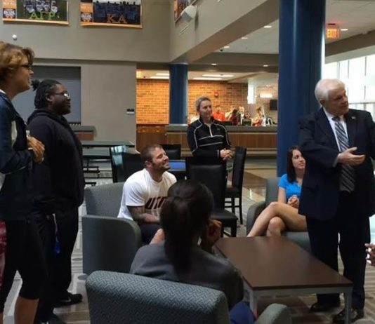 Ken Yager with students