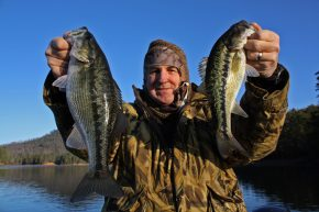 Chattanooga's Ed McCoy shows off a pair of respectable Alabama spots taken from Parksville Lake on a cold winter day. (Photo: Richard Simms)