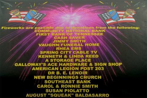 Several local Individuals and Businesses donated money to help fund the fireworks this year. List is above.