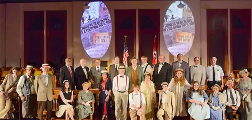 """The 2014 cast of """"Front Page News"""". The historically accurate play with music returns to historic Rhea County Courthouse July 17-19 and 25-26. For tickets call 931 484 5000. (photo: Matt Tener Wade, Cumberland Co. Playhouse and the Scopes Trial Festival)"""