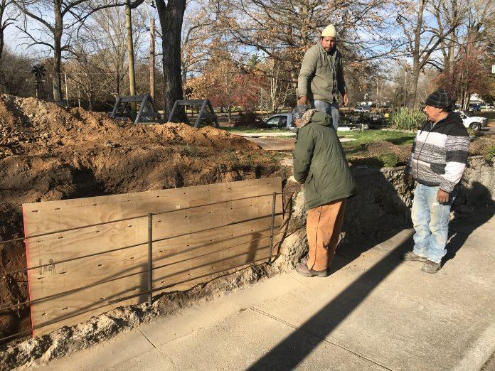 Scopes Trial Era wall under repair